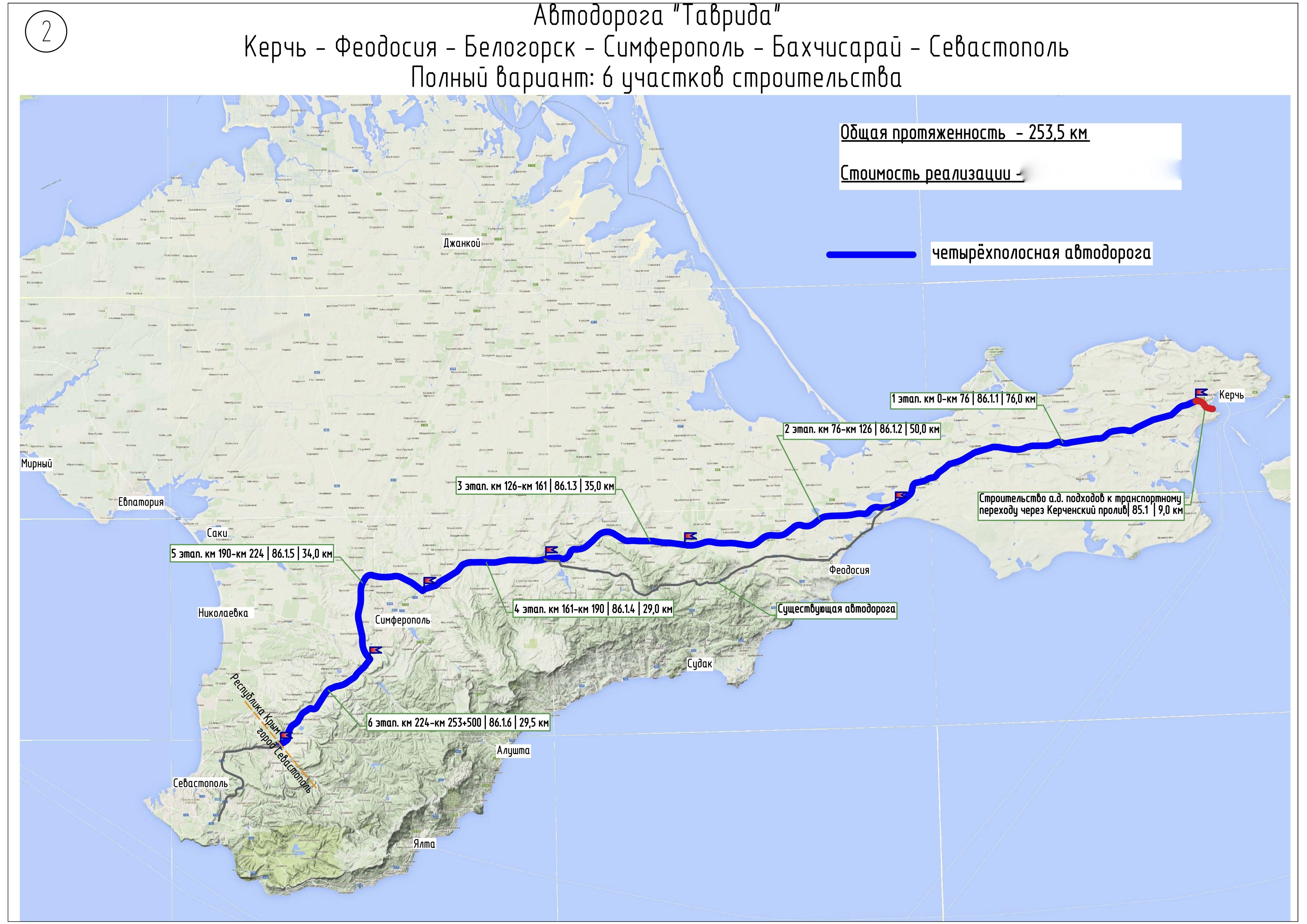 В Крыму запустили второй участок федеральной трассы «Таврида» (видео и схема)